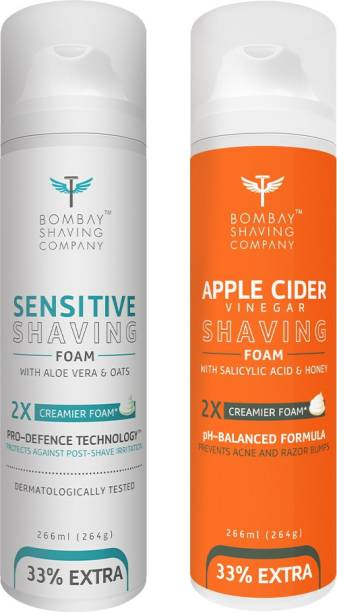 BOMBAY SHAVING COMPANY Sensitive Shaving Foam with Aloe Vera, Oats, Menthol and 2X Creamier Formulae for Superior Glide and Protection 266 ml (33% Extra) (266 g) & Apple Cider Vinegar Shaving Foam with Apple Cider Vinegar, Salicylic Acid, Honey and 2X Creamier Formulae for Superior Glide and Protection 266 ml (33% Extra) (266 g)
