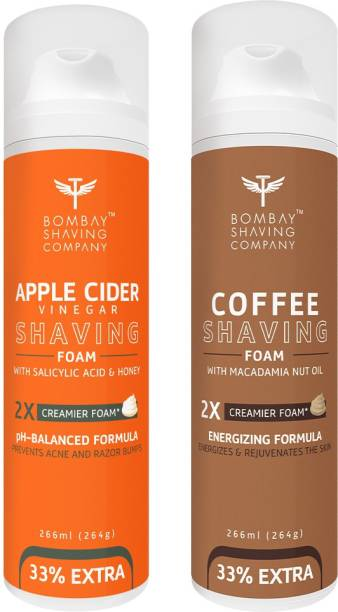 BOMBAY SHAVING COMPANY Apple Cider Vinegar Shaving Foam with Apple Cider Vinegar, Salicylic Acid, Honey and 2X Creamier Formulae for Superior Glide and Protection 266 ml (33% Extra) (266 g) & Coffee Shaving Foam with Coffee Extracts, Nut Oil, Olive Oil and 2X Creamier Formulae for Superior Glide and Protection 266 ml (33% Extra) (266 g)