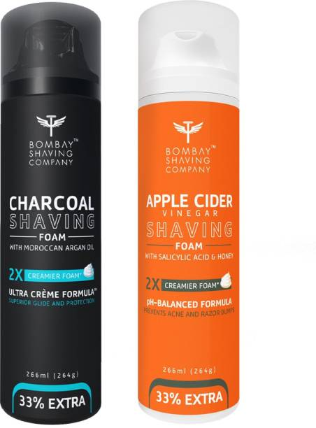 BOMBAY SHAVING COMPANY Activated Charcoal Shaving Foam with Argan Oil and 2X Creamier Formulae for Superior Glide and Protection 266 ml (33% Extra) (266 ml) & Apple Cider Vinegar Shaving Foam with Apple Cider Vinegar, Salicylic Acid, Honey and 2X Creamier Formulae for Superior Glide and Protection 266 ml (33% Extra) (266 g)