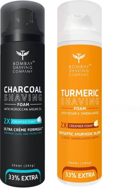 BOMBAY SHAVING COMPANY Activated Charcoal Shaving Foam with Argan Oil and 2X Creamier Formulae for Superior Glide and Protection 266 ml (33% Extra) (266 ml) & Turmeric Shaving Foam with Turmeric, Sandalwood, Kesar and 2X Creamier Formulae for Superior Glide and Protection 266 ml (33% Extra) (266 g)