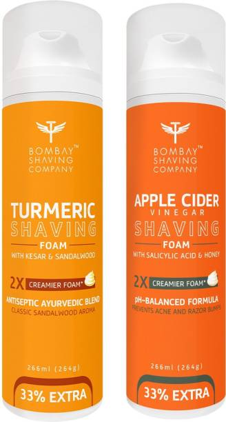 BOMBAY SHAVING COMPANY Turmeric Shaving Foam with Turmeric, Sandalwood, Kesar and 2X Creamier Formulae for Superior Glide and Protection 266 ml (33% Extra) (266 g) & Apple Cider Vinegar Shaving Foam with Apple Cider Vinegar, Salicylic Acid, Honey and 2X Creamier Formulae for Superior Glide and Protection 266 ml (33% Extra) (266 g)