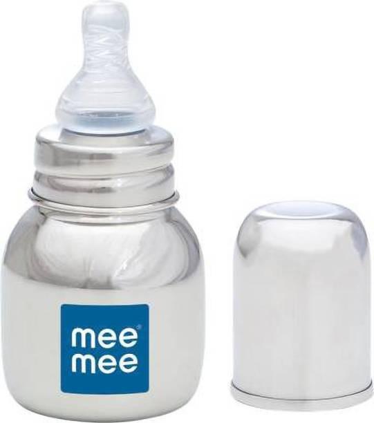 MeeMee Premium Steel Feeding Bottle - 120 ml (Silver) - 120 ml