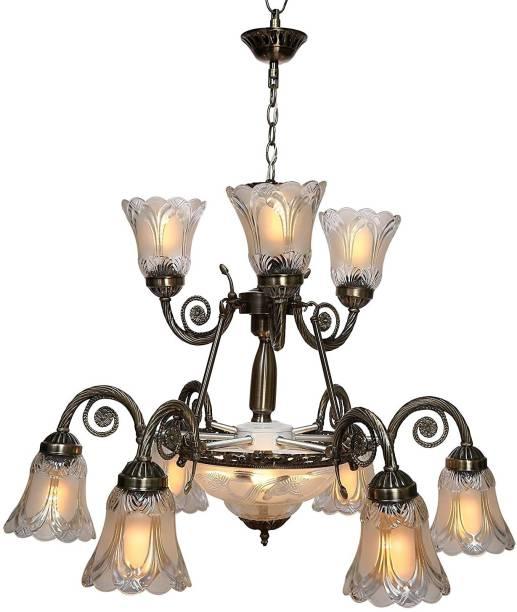 GENREE 9+3 Light Black Antique Portuguese Style Chandelier Jhoomer to Decor Chandelier Ceiling Lamp