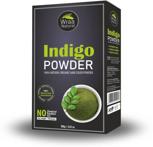 Wraa Natural 100% Pure and Natural Organic Indigo Powder for Hair Dye Color (NO Ammonia, and Absolute Chemicals Free) (100 gm)
