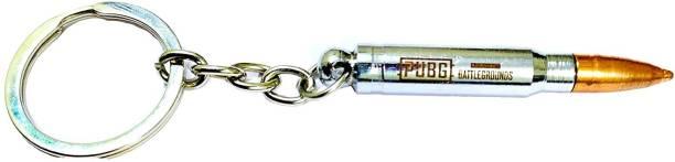 MASHKI PUBG Bullet Keychain Premium Solid Steel Metal Cross Fire Big Bullet Key Chain Battleground Gun Bullets High Quality Metal Key Ring Key Chain