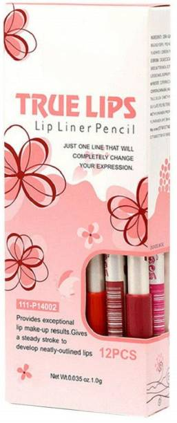 Miss Hot True Lips water proof Lip Liner Pencil(Pack Of-12) (Multicolour)