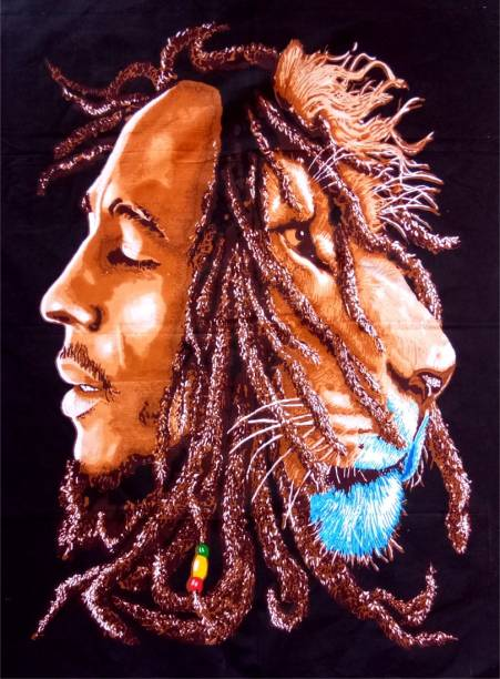 Heyrumbh Handicrafts Bohemian RR9 Bob Marley With Lion Wall Hanging Cotton Poster Tapestry