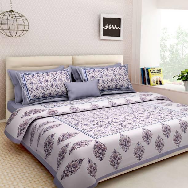 Lokesh Creashan 600 TC Cotton Double Jaipuri Prints Bedsheet
