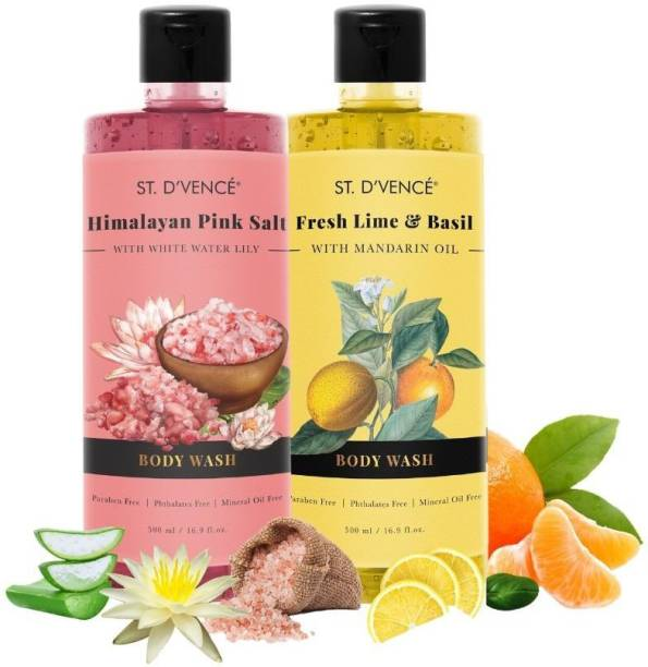 ST. D'VENCÉ Best Selling Body Wash Duo (Himalayan Pink Salt with Vanilla Beans + Lime & Basil with Mandarin Oil)