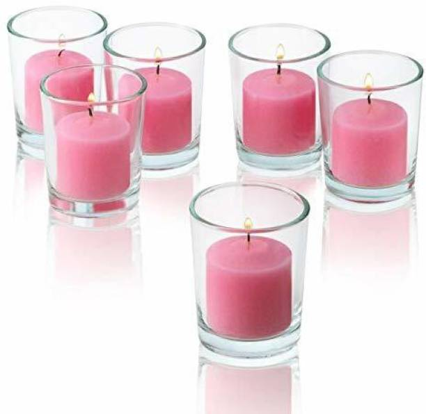 BHARTI TRADERS rose Votive Candle Set of 6 Burning Time 5 Hours Candle (pink, Pack of 6) Candle