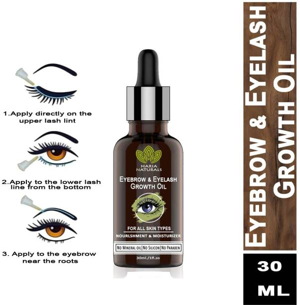 Haria Naturals 100% Pure Eyebrow & Eyelashes Growth Oil-Enriched with Natural Ingredients 30 ml 30 ml