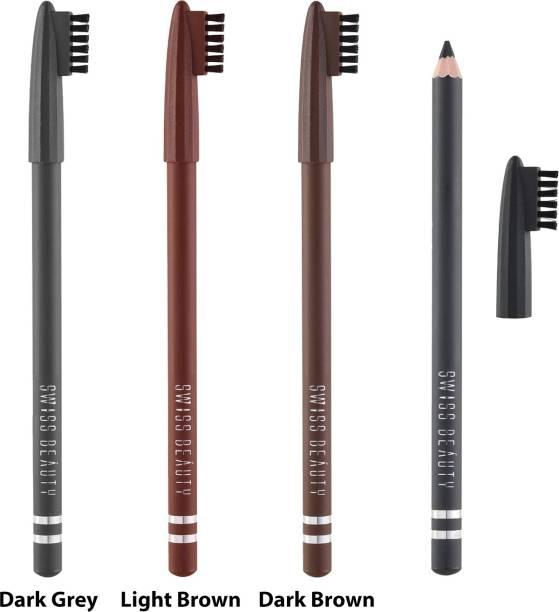 SWISS BEAUTY Soft Waterproof Precision Eyebrow Pencil - Dark Brown, Dark Grey & Light Brown (Pack of 4)