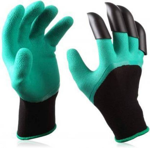 JINPRI Gardening Gloves, Garden Gloves with Right Hand Fingertips ABS Claws for Pruning, Digging & Planting, One Pair Gardening Shoulder Glove