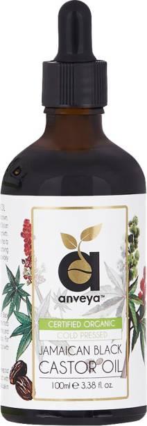 Anveya Jamaican Black Castor Oil, Cold-Pressed Organic, 100ml, for Hair, Growth Hair Oil