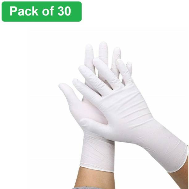 Crozier Disposable Latex White gloves Latex Gloves Hand Protection Rubber Examination Glove for Hospital, Clinic, Sanitary & Kitchen For Men women (White, Free Size, Pack of 30) Latex Examination Gloves