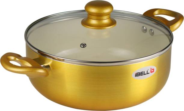 iBELL Ceramic Casserole 4.1 litres with Glass Lid, Induction & Gas Compatible Cookware, 2.5mm Thickness, 3 Layer Ceramic Interior, Golden Finish Kadhai 24 cm with Lid