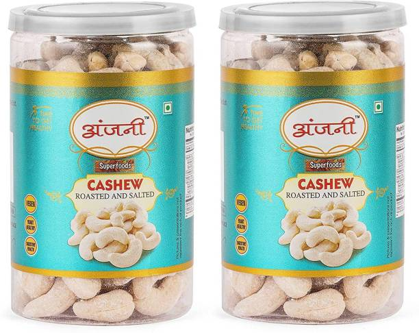 Anjani Roasted and Salted Premium Cashews, (Pack of 2 Poly Jar- 200g x 2= 400g)
