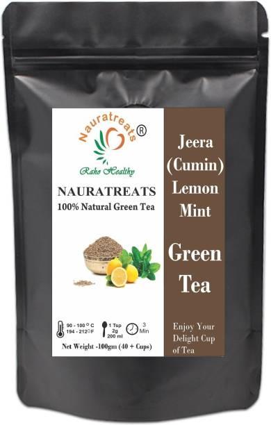 Nauratreats Jeera (Cumin) Lemon Ginger Mint Loose Leaf Green Tea 100gm Green Tea Pouch