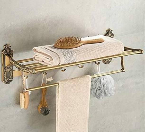 Plantex Antique Aluminum Folding Towel Rack for Bathroom/Folding Towel Stand/Hanger/Bathroom Accessories (24 Inch) Beige Towel Holder