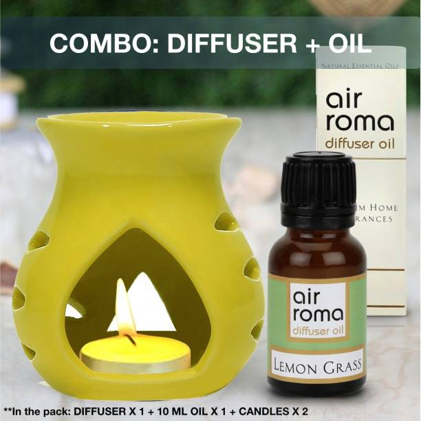 Airroma Aroma Oil Burner Set Yellow (Free 2 Tea Light Candles & 10 ml Lemon Grass Aroma Oil) Diffuser Set, Diffuser, Aroma Oil, Spray