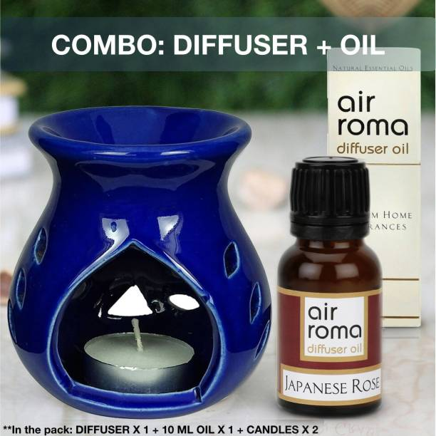 Airroma Aroma Oil Burner Set Blue (Free 2 Tea Light Candles & 10 ml Japanese Rose Oil) Diffuser Set, Diffuser, Aroma Oil, Spray