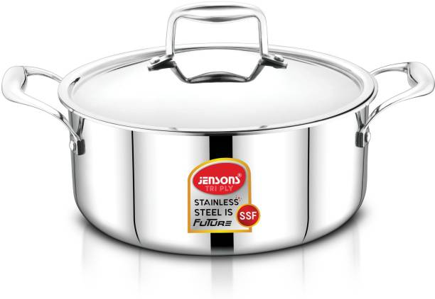 Jensons Smilla Triply 18/10 Food Grade Stainless Steel CASSEROLE with STAINLESS STEEL HEAVY LID-INDUCTION Compatible-24 CM Cook and Serve Casserole