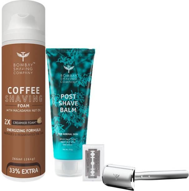 BOMBAY SHAVING COMPANY Professional Shaving kit-(Coffee Shaving Foam,Precision Razor & 10 Blade with Post Shave Balm)