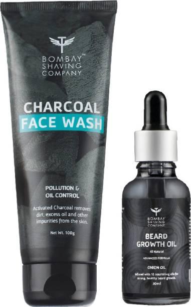 BOMBAY SHAVING COMPANY Charcoal Face wash & Beard Growth Onion Oil-30ml Combo