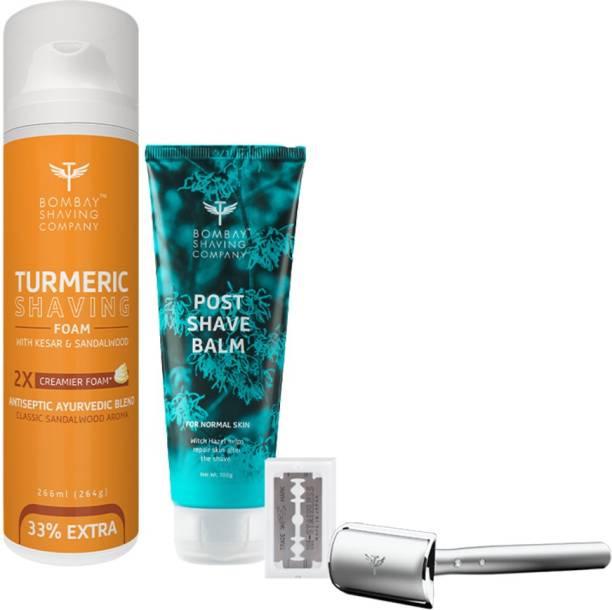 BOMBAY SHAVING COMPANY Mini Professional Shaving kit-(Turmeric Shaving Foam,Precision Razor & 10 Blade)