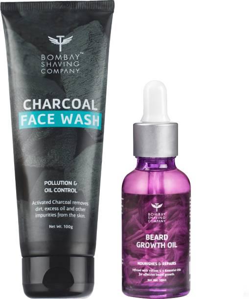 BOMBAY SHAVING COMPANY Charcoal Face wash & Beard Growth Oil-30ml Combo