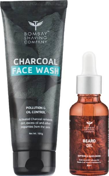 BOMBAY SHAVING COMPANY Charcoal Face wash & Beard Growth Thyme Oil-30ml Combo
