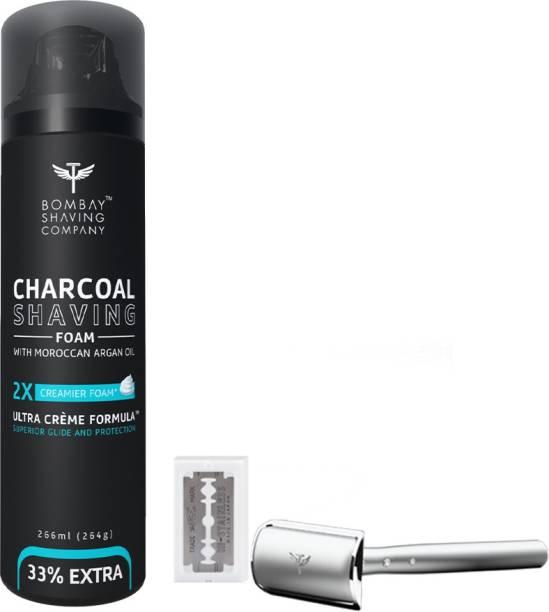 BOMBAY SHAVING COMPANY Mini Professional Shaving kit-(Charcoal Shaving Foam,Precision Razor & 10 Blade)