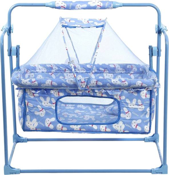 Miss & Chief Presents Cozy New Born Baby Crib Baby Cradle Baby Jhula Baby Swing with Mosquito Net, Pillow, and with Adjustable Height