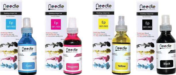 Needle 4 x 100ml Needle Ep 001/003 compatible with Epson ink tank inkjet L1110, L1455, L3100, L3101, L3110, L3115, L3116, L3150, L3151, L3152, L3156, L4150, L4160, L5190, L6160, L6170, L 6190 Black + Tri Color Combo Pack Ink Bottle