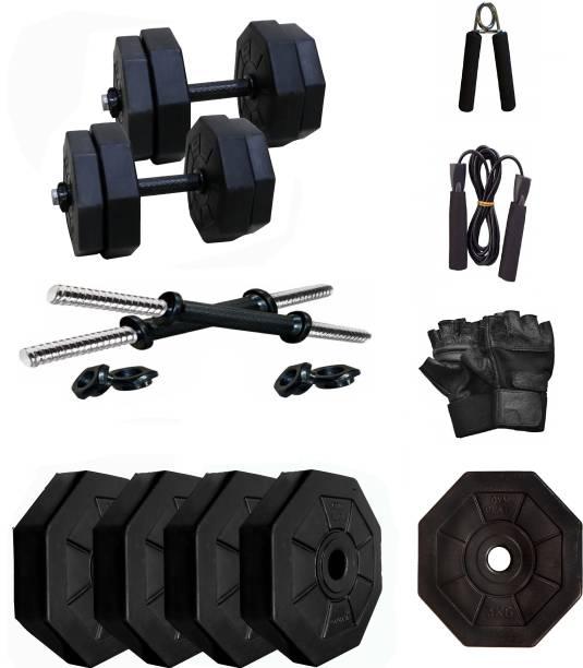 Star X Hexa PVC 8Kg Dumbbells Set COMBO Gym & Fitness Kit