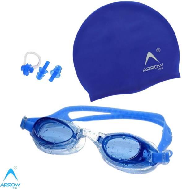 ArrowMax Swimming Kit(silicone cap/Swimming Goggle/Earplugs/Noseplug) Swimming Kit