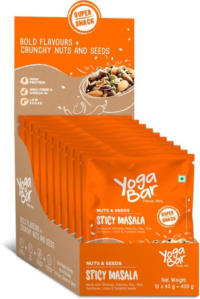 Yogabar Trail Mix Nuts & Seeds | Spicy Masala 40g x 10 | Healthy Namkeen with Nuts and Dry Fruits | Superfood with Roasted Sunflower and Chia Seeds | Gluten Free Trail Mix | High in Protein & Fibre Assorted Nuts
