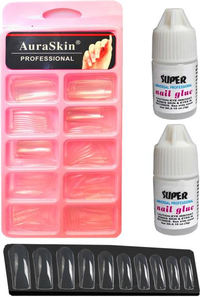 AuraSkin 100pcs Transparent Artificial Nail Tips Best False Nails with 2pcs Strong Nail Glue Transparent
