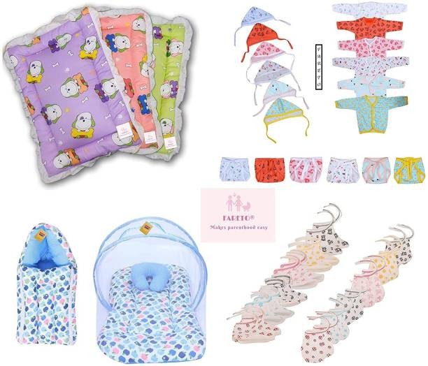 Fareto Just Born Daily Essential Clothing Combo Set All In One(0-3Months)(Total Items: 35)