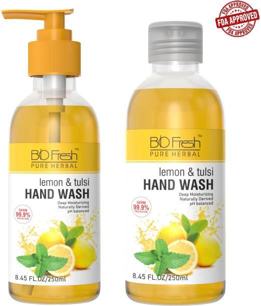Biofresh FDA APPROVED Lemon & Tulsi Handwash (Pack of 2) Hand Wash Bottle
