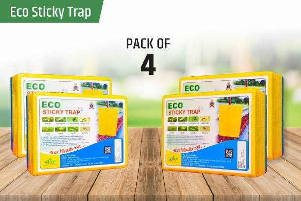 Green Revolution ECO Sticky Trap for Garden & Farm, Glue Trap, Yellow sticky trap, Fly trap for control Whitefly, Thrips, Aphids, Jassids, onion fly, Leaf hopper, fungus gnats, and other flying insects. Pack of 4 (100 Pieces)