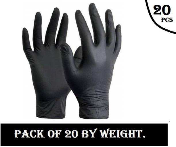 D.B.Z. Disposable Nitrile Gloves Hand Protection Rubber Examination Glove for Hospital, Clinic, Sanitary & Kitchen (Pack of 20 , Medium) Nitrile Examination Gloves