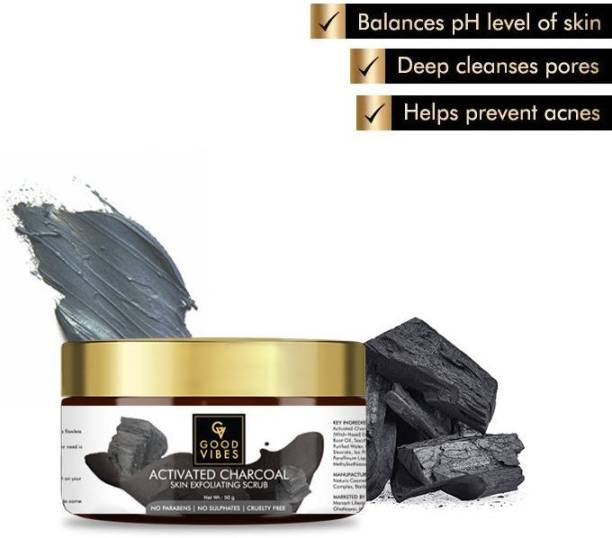 GOOD VIBES Skin Exfoliating Face Scrub - Activated Charcoal Scrub
