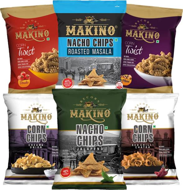 MAKINO Cornax (2 Nacho Chips, 2 Corn Chips, 2 Corn Twist) Chips