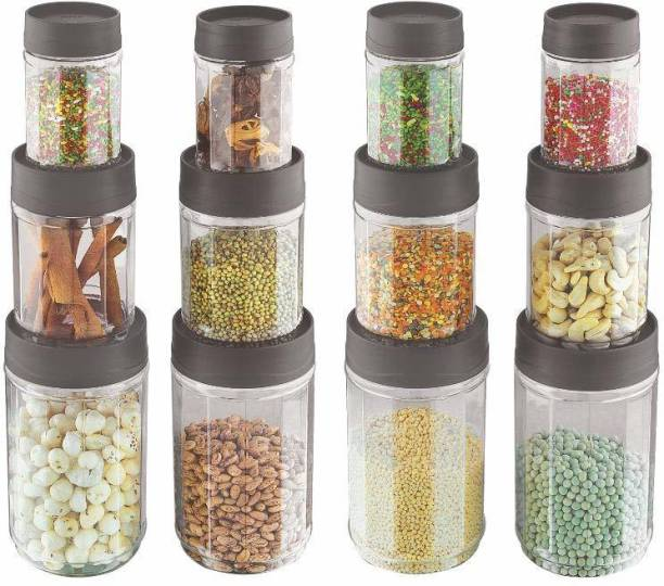 Sky Octave Celebration 12 Pcs Storage Pet Container Gift Set for Kitchen (320 ml x 4, 650 ml x 4, 1350 ml x 4),Grey  - 320 ml, 650 ml, 1350 ml Plastic Grocery Container
