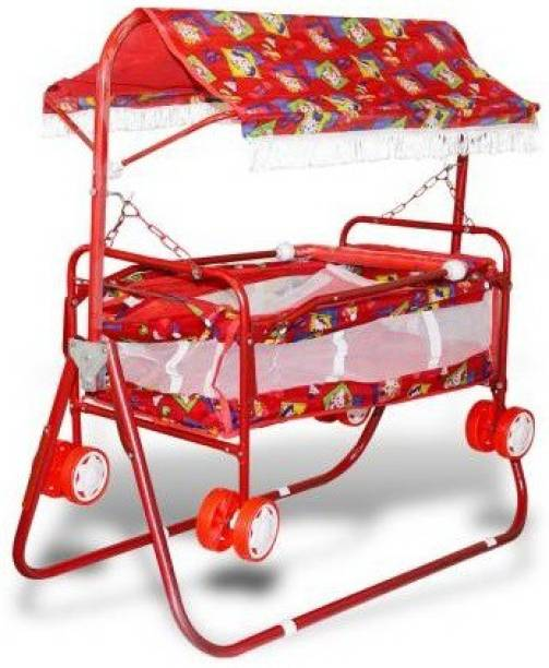 AVARIN 2in1 Steel Piped Baby Pram with Cradle for Boys and Girls with canpoy (Red)