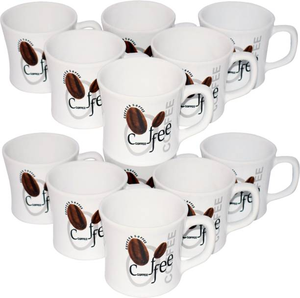 KC Somny Pack of 12 Ceramic Coffee Print Coffee Cup & Tea Cup Set of 12 (AE1GH4D) (120ml)