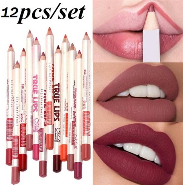 Blue Loon True Lips Set of 12 Creamy Lip Liner Pencils (Mix)