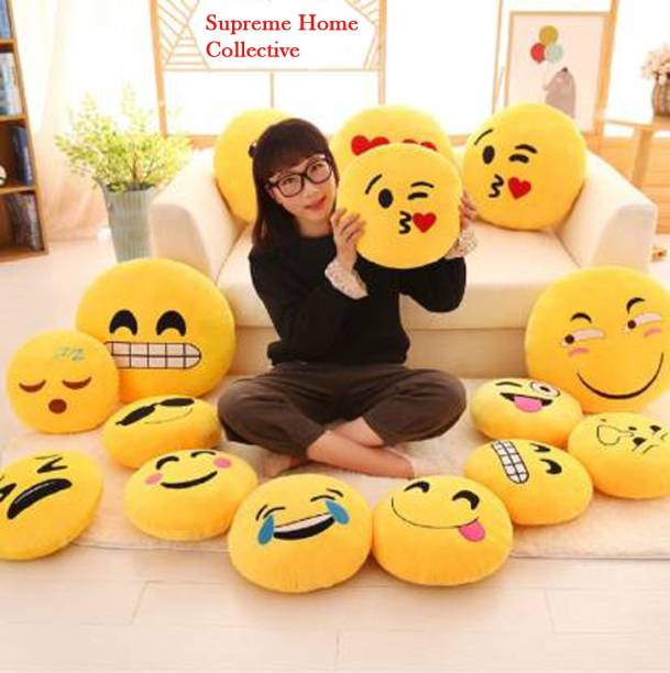Supreme Home Collective Polyester Fibre Smiley Cushion Pack of 8