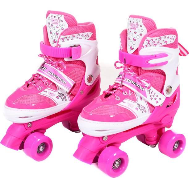IRIS Roller Skates for Kids, PVC Wheel with Adjustable Double Row Skate Rollerblades for Beginners/Children/Boys/Girls (Size: 6-8 UK) Quad Roller Skates - Size 6-8 UK